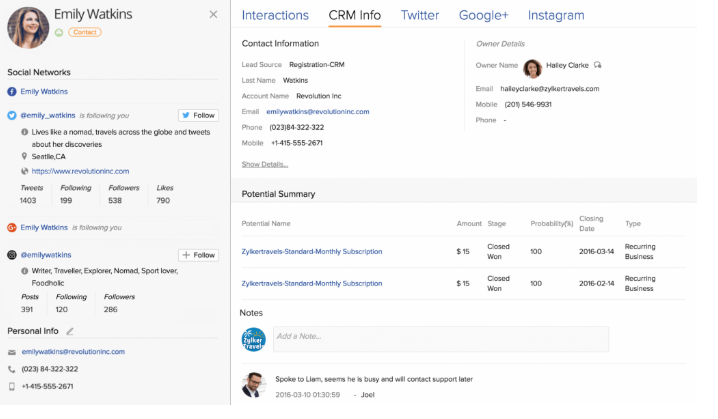 zoho, CRM, contact management, sales management